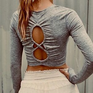 free people NWT grey crop top